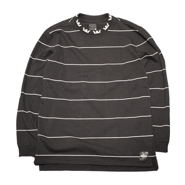 画像1: SUPRA APPAREL : BANDED L/S CREW : BLACK x WHITE