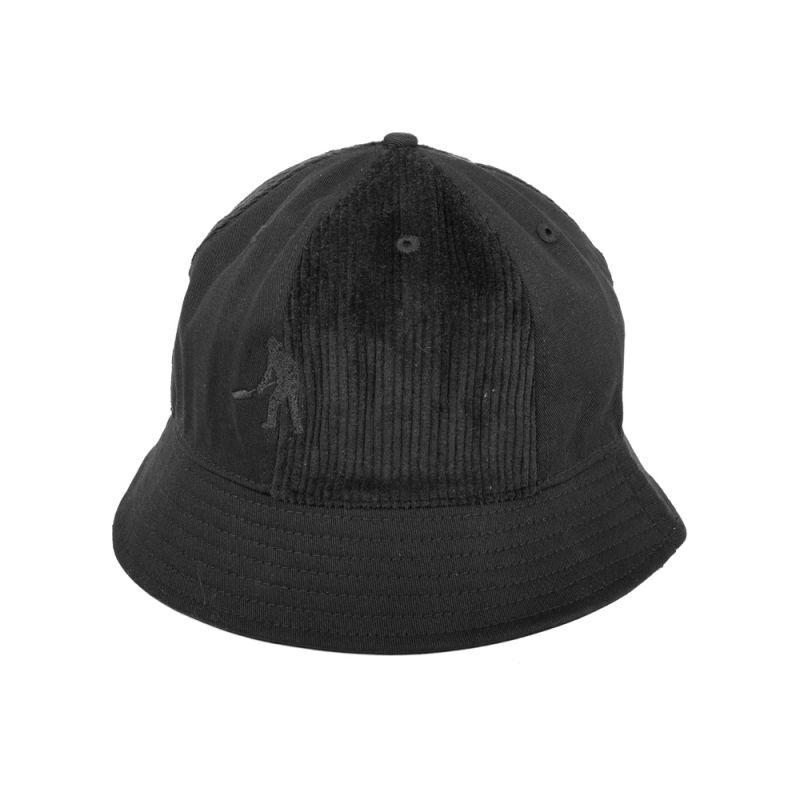画像1: PASS〜PORT - CORD PATCH 6 PANNEL BUCKET CAP BLACK